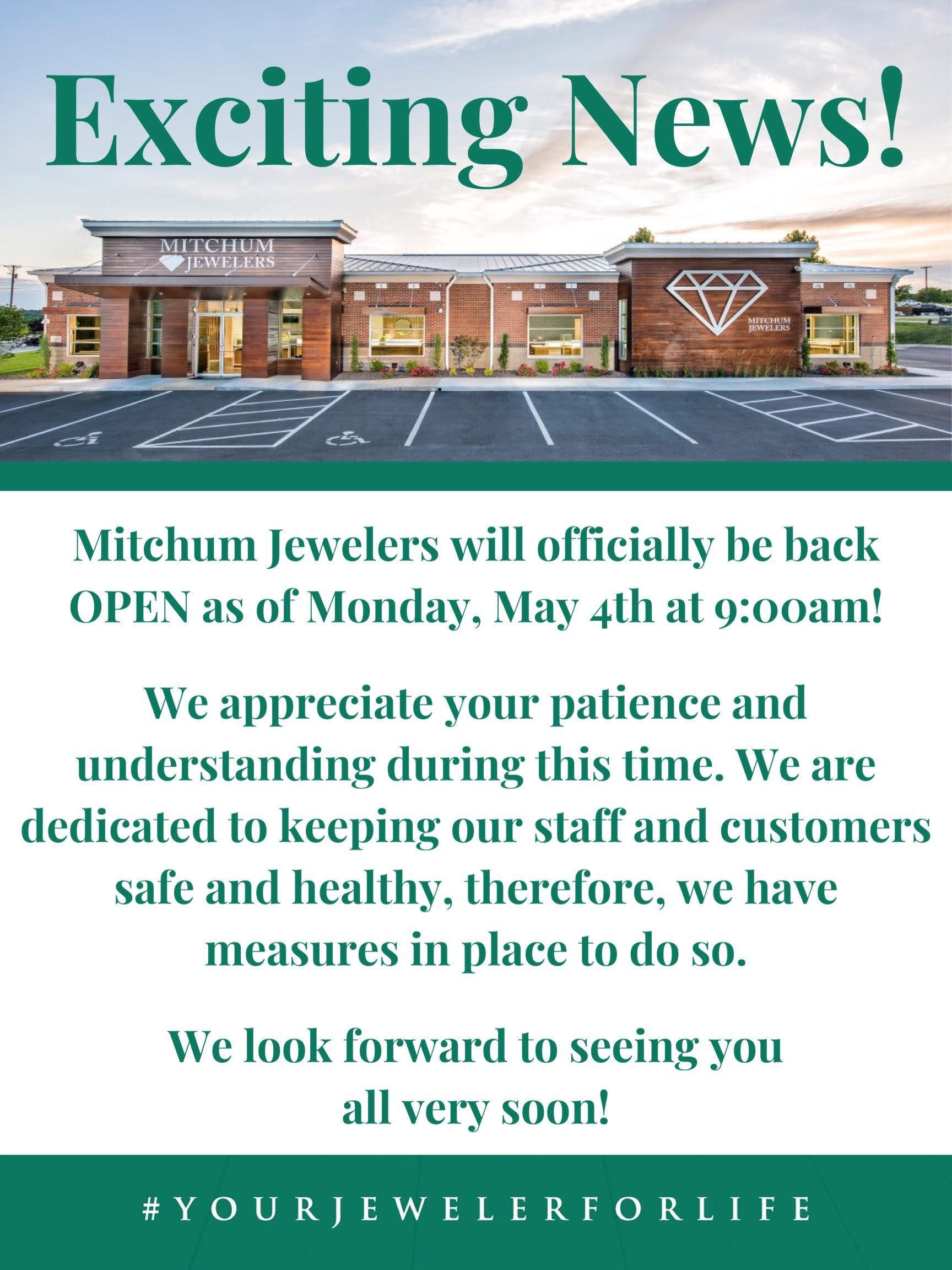 Mitchum Jewelers is Re-Opening Monday May 4th at 9am and resuming normal store hours!